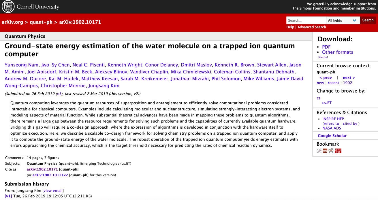 IonQ performs the first quantum computer simulation of the water molecule