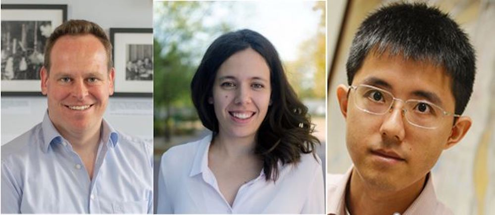 (L-R) Principal Investigator Sebastian Will (Physics), and Co-PIs Ana Asenjo-Garcia (Physics), and Nanfang Yu (Applied Physics) have been awarded $2 million for a project aimed at extending the excited state lifetime of atoms.