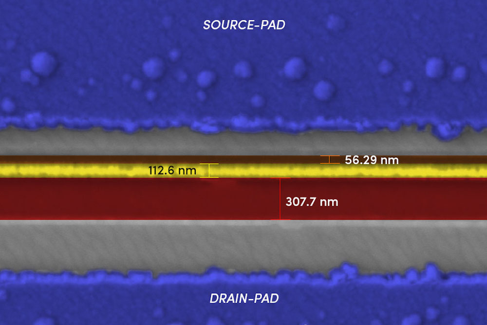 Transistors are the building blocks of computer hardware. Smartphones have billions of them. This image shows a gallium oxide transistor created with an electron beam lithography (EBL) system. The gate (the yellow line) is about 100 nanometers wide — a typical sheet of paper is 100,000 nanometers thick. This is an example of the extremely tiny structures that can be fabricated with EBL systems. Credit: Uttam Singisetti and Abhishek Vaidya, University at Buffalo.