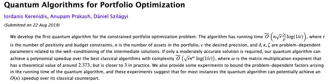 « Paper » of the week: Quantum Algorithms for Portfolio Optimization by Iordanis Kerenidis, Anupam Prakash, and Dániel Szilágyi