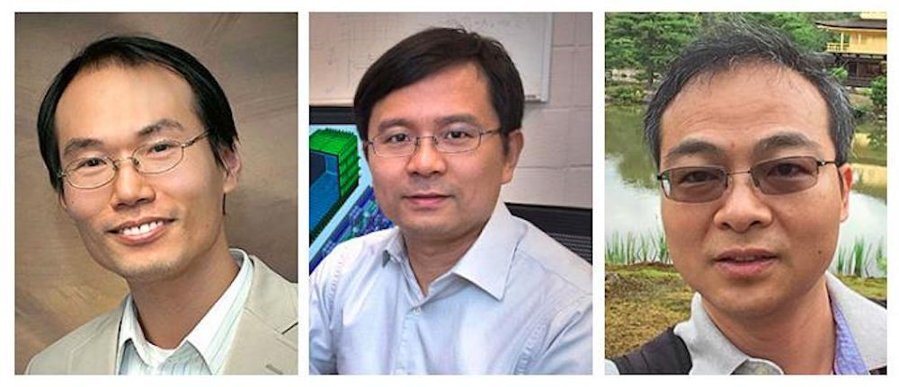 (From left to right) Brookhaven computational scientist Shinjae Yoo (principal investigator), Brookhaven physicist Chao Zhang, and Stony Brook University quantum information theorist Tzu-Chieh Wei are developing deep learning techniques to efficiently handle sparse data using quantum computer architectures. Data sparsity is common in high-energy physics experiments.  CREDIT Brookhaven National Laboratory