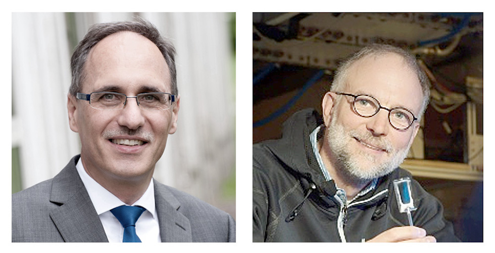 The coordinators of the Competence Network for Quantum Technology Baden-Württemberg (from left): Prof. Joachim Ankerhold (University of Ulm) and Prof. Tilman Pfau. Image courtesy of University of Stuttgart.