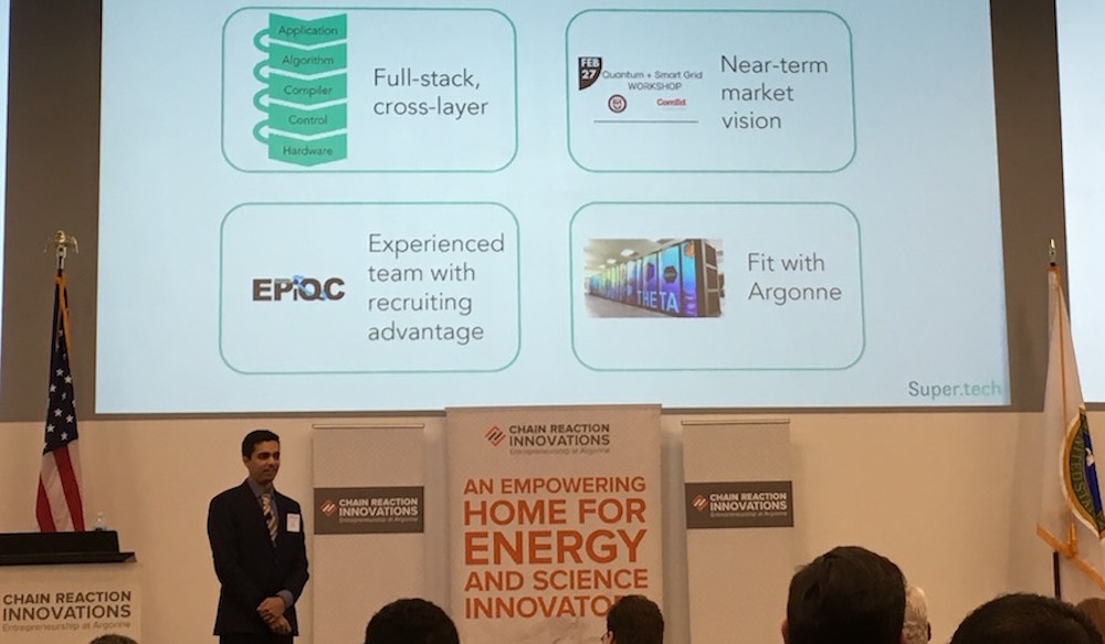 UChicago CS PhD student Pranav Gokhale pitches Super.tech at the finals of the Argonne Chain Reaction Innovations program.