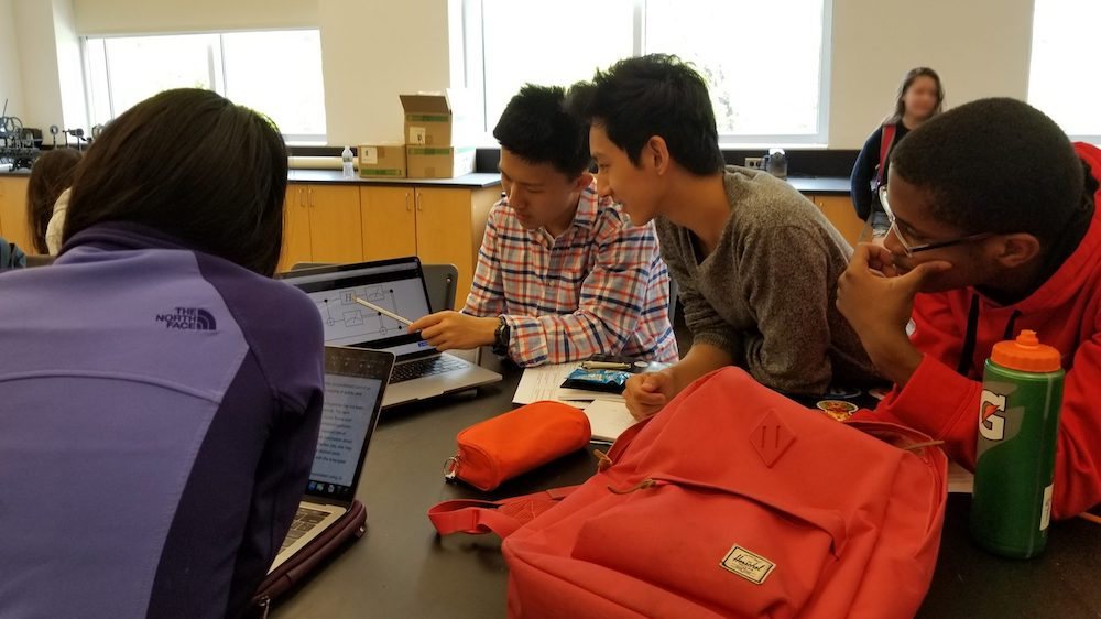 Students in a trial classroom undertake the IBMQ exercises in May 2019. Photo: Ranbel Sun