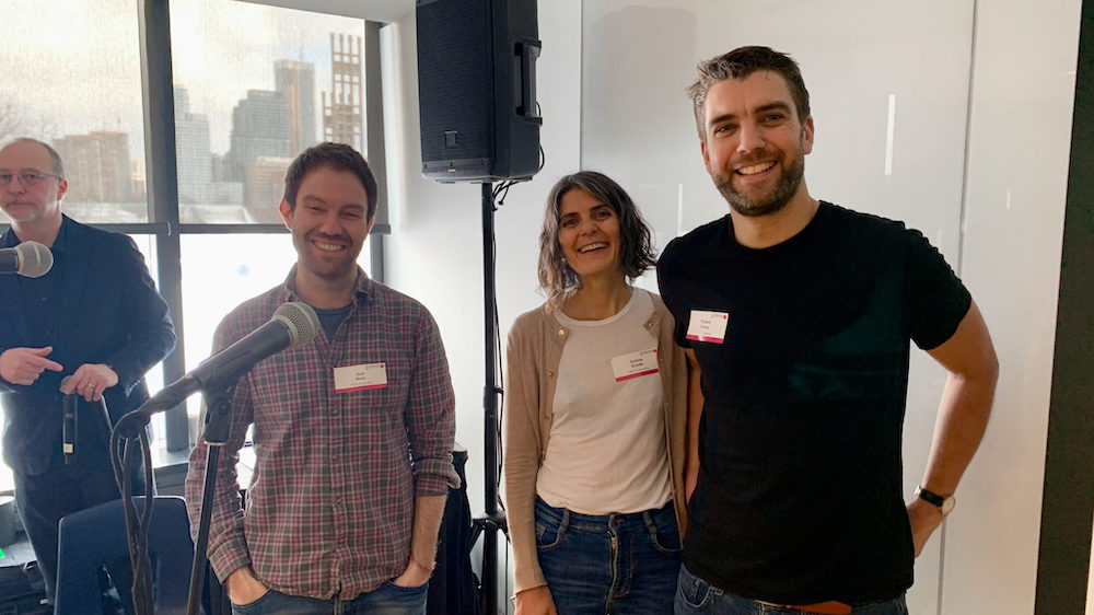 ORCA Computing founders at the Creative Destructive Lab in Toronto. From left to right: Josh Nunn, Cristina Escoda, Richard Murray.