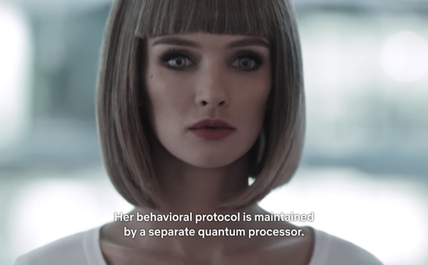 Her behavioral protocol is managed by a separate quantum processor....